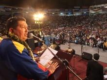El presidente de la República, Hugo Chávez, y su homólogo Evo Morales