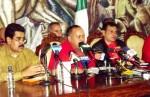 Alexis Ramírez  junto a Nicolás Maduro y Diosdado Cabello, en rueda de prensa, anunciaron plan de saneamiento ambiental.