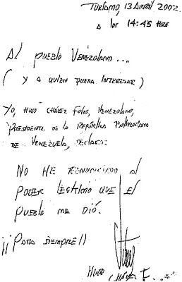 Resultado de imagen para carta de chavez 13 de abril