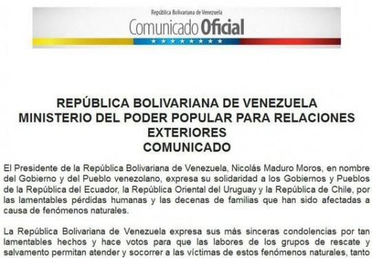 Comunicado Venezuela Solidaria Con Ecuador Uruguay Y Chile Por P Rdidas Humanas A Causa De